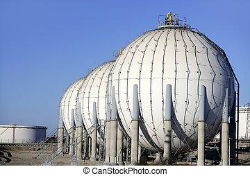 grande, químico, tanque, gasolina, contenedor,...