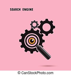 Magnifying optical glass with Gears icon on background. Search engine concept.