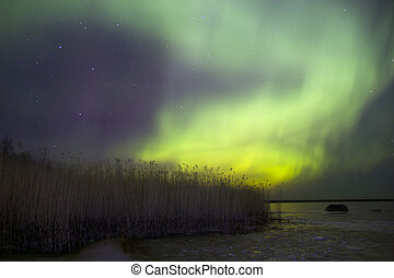 Northern lights, lake Ladoga - North blue lake Ladoga...