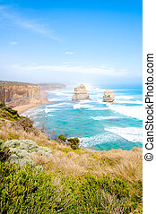 The Twelve Apostles by the Great Ocean Road in Victoria,...