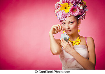 Spring girl with jewelry gift box and flowers hair - Pink...