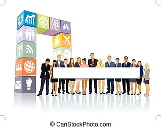 Web portal - Crowd of businesspeople standing in front of...