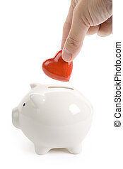 Piggy Bank and Red Heart, Concept of love, Charity and...