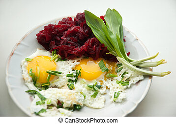 Two fried eggs for healthy breakfast . - Two fried eggs and...
