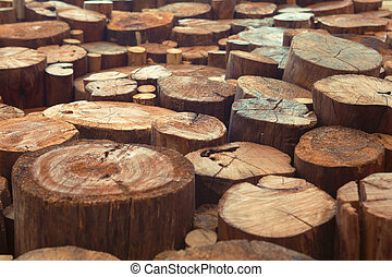 Teak wood stump background - Old teak wood stumps with...