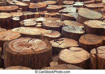 Teak wood stump background - Old teak wood stumps with...