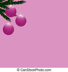 Christmas Tree Baubles on Pink
