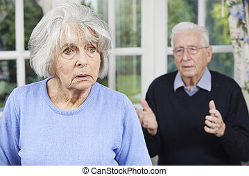 Unhappy Senior Couple At Home Together