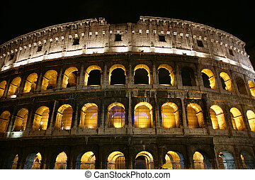 Coliseum in Rome - Nightly illumination of Coliseum is in...