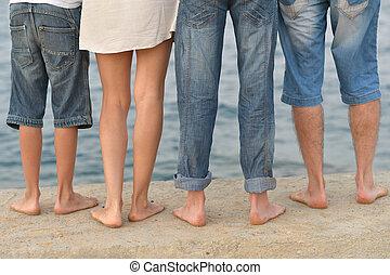 Family feet on beach