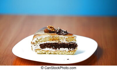 piece of cake sprinkled with chocol