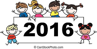 mixed ethnic children 2016 - header or banner calendar new...