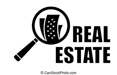 real estate icon and magnifier lens
