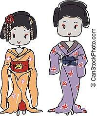 geisha - two doodle style Japanese geisha