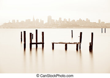 San Francisco skyline with abandoned pier