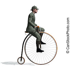 1880s Man Riding a Penny-farthing Bicycle - A man riding a...
