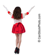 Female model wearing red dress isolated on white