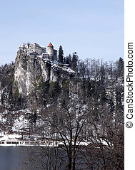 Lake Bled,Alps and the Castle Bled, Slovenia - Winter...