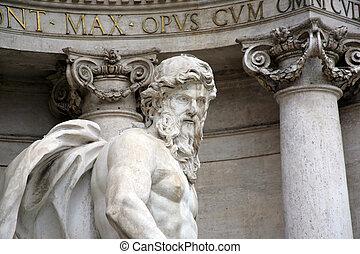 fountain di Trevi, Rome - Statue of Neptune,fountain di...