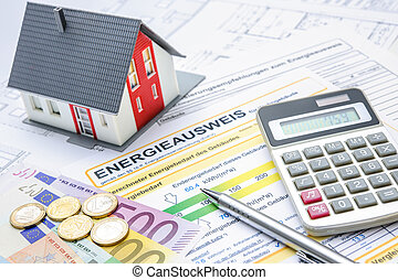 Energy saving - House with money and calculator. Energy...