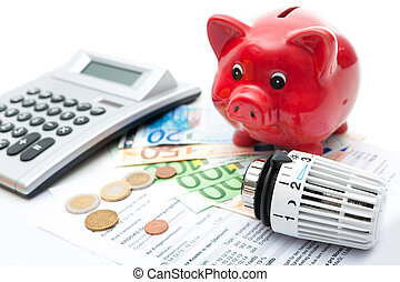 Energy saving - Heating thermostat with piggy bank and...