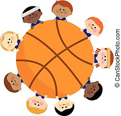 Basketball and kids team - Vector illustration of a...