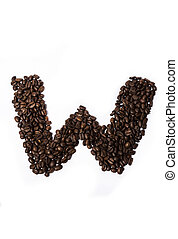 Coffee beans laid out the letter isolated on white...