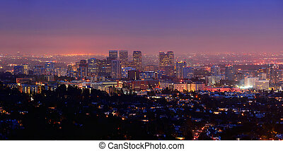Los Angeles at night with urban buildings