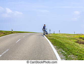boy on a bicycle tour in Bavaria - teenage boy on a bicycle...