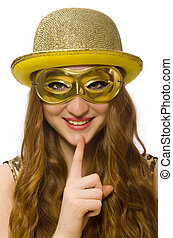 Girl in golden mask isolated on white