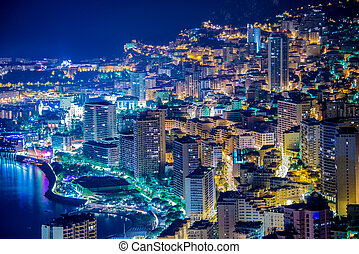 Night view of Monaco from mountain