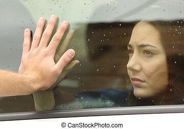 par, dizendo, adeus, antes de, car, Viagem,