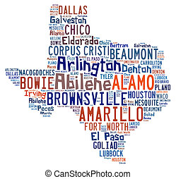 Word cloud showing the cities in Texas - Word cloud shaped...