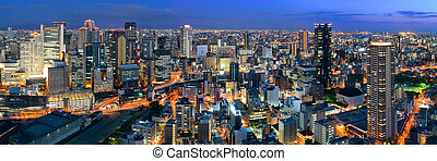 Osaka night rooftop view - Osaka urban city at night...