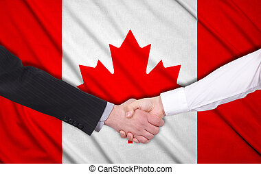 canada flag - handshake on a canada flag background
