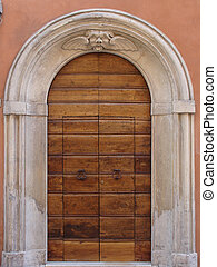 Architectural details of historic buildings. Italy -...