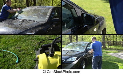 man wash car collage - Man wash his favorite car with sponge...