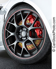 Car wheel with red-hot brakes - Close tuned car wheel with...