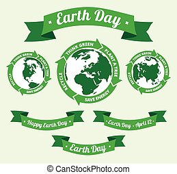 Earth day badge and retro style ban