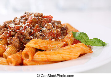 Penne Bolognese or Bolognaise sauce noodles pasta meal on a...