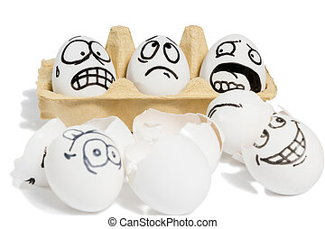 Three emotional eggs - Three eggs with frightened faces...