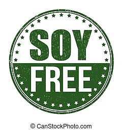 Soy free stamp - Soy free grunge rubber stamp on white...