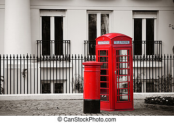 telephone booth and mail box - Red telephone booth and mail...