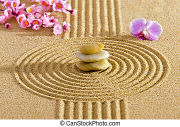Japanese ZEN garden with feng shui and stacked stones in...