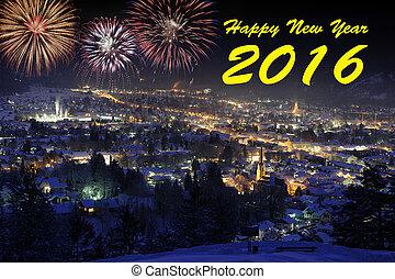 Happy new year 2016 with firework over german city Garmisch...