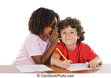 Kids studing together - A couple of kids studding over white...