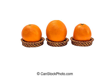 Orange fruit on bamboo tray isolated on white background...