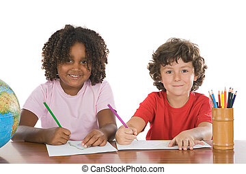 Kids studing together - A couple of kids studing over white...
