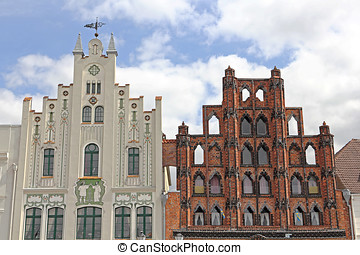 Two historic gables at market place in Wismar - The market...