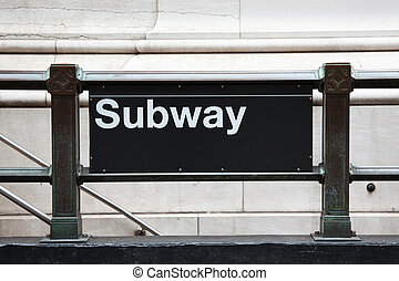 Subway entrance in manhattan - New York - USA